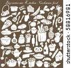 big vector set : kitchen - food, cookware - stock vector