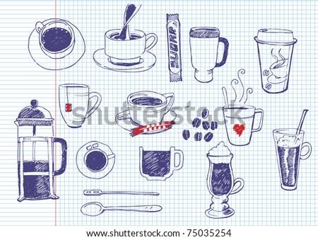 big vector set of coffee and tea - stock vector
