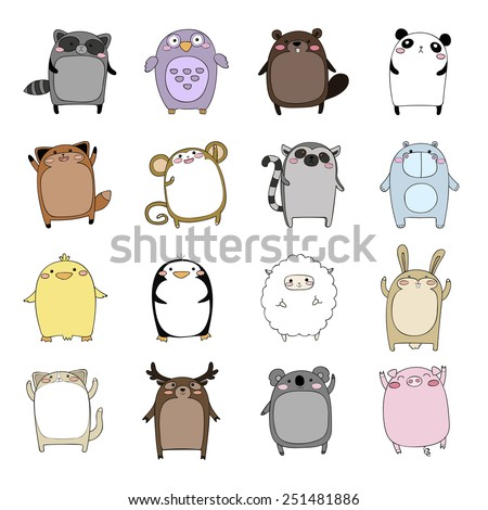 Big vector set of cute cartoon wild animals and pets isolated on white background. Funny african, wild, forest, farm and home animals in bright colors. Childish set for books, magazines and other. - stock vector