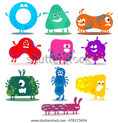 Big vector set of  cute monsters. Funny cartoon character. Vector illustration. Isolated on white background.