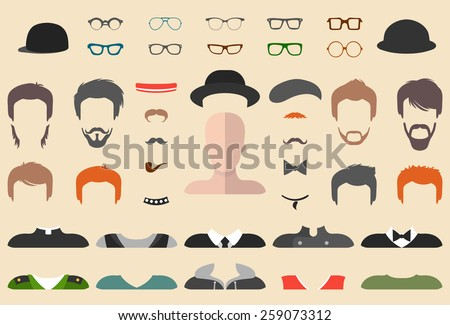 Big vector set of dress up constructor with different men glasses, beard, mustache, wear in trendy flat style. Flat man faces icon creator - stock vector