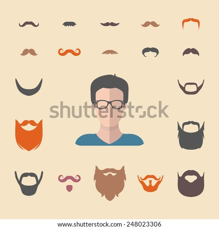 Big vector set of dress up constructor with different men hipster beard, mustache in trendy flat style. Flat man faces icon creator - stock vector
