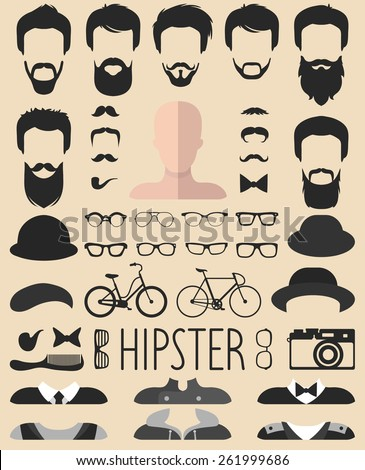 Big vector set of dress up constructor with different men hipster haircuts, glasses, beard, mustache, bikes in trendy flat style. Flat app man faces icon creator - stock vector