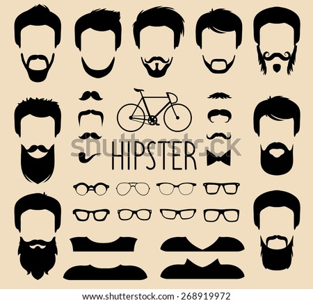 trendy mens glasses 9sie  Big vector set of dress up constructor with different men hipster haircuts,  glasses, beard