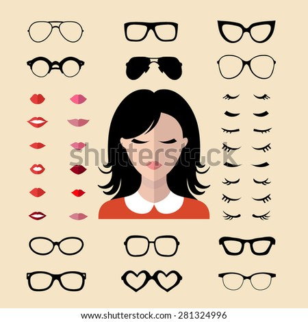 Big vector set of dress up constructor with different woman eyelashes, glasses, lips in trendy flat style. Female faces icon creator.