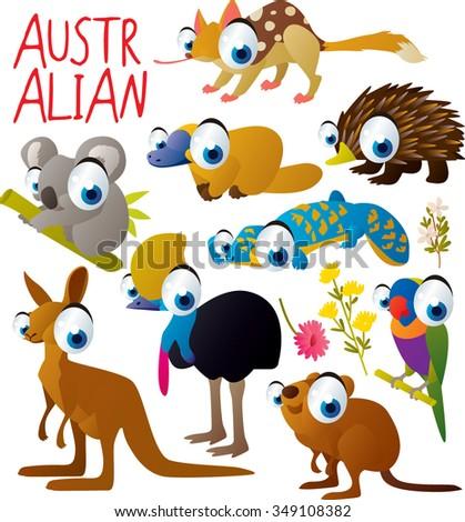 big vector set of funny comic cartoon animals: australian animal: quoll, platypus or duckbill, echidna or anteater, koala, lizard, cassowary, parrot, kangaroo, quokka - stock vector