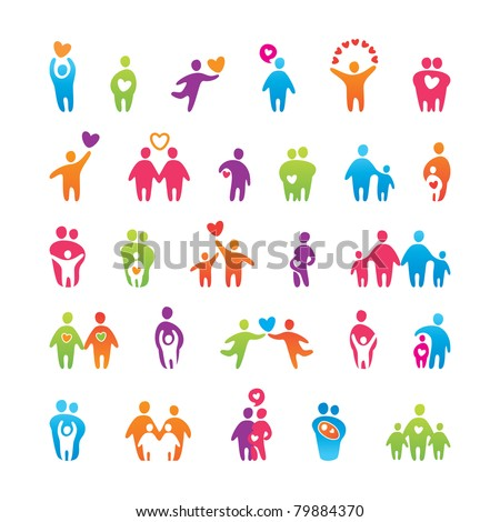 Big vector set of icons - love, family and child.