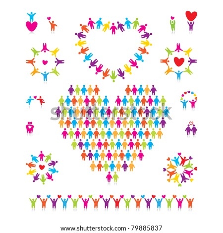 Big vector set of icons - love people. - stock vector