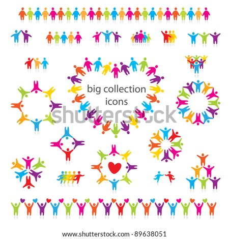 Big vector set of icons - people, team, friendship and love. - stock vector