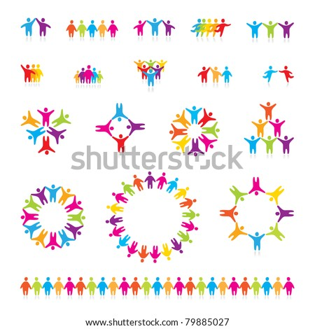 Big vector set of icons - successful team. - stock vector