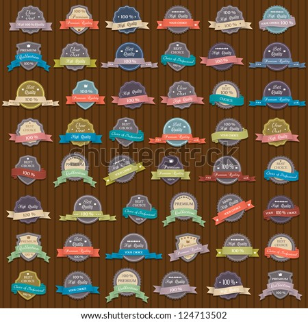 Big vector set of Premium Quality labels - stock vector
