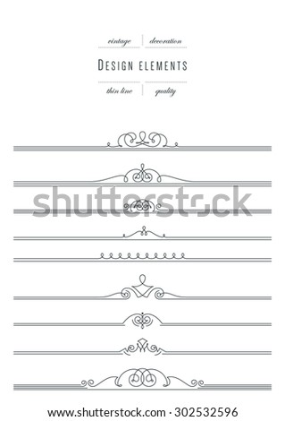 Big vintage set - design elements, thin line ( variable line width ) - stock vector