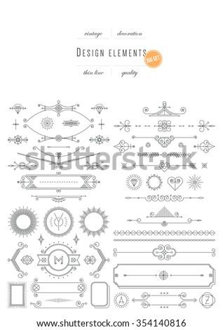 Big vintage set - design elements, thin line ( variable line width ) - stock vector