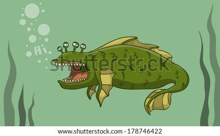 Big water monster searching friends. Vector Illustration. - stock vector