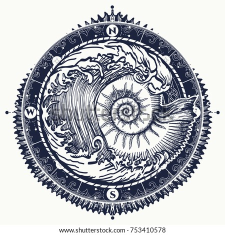 Big wave and sea shell tattoo and t-shirt design. Symbol of adventures boho style. Great outdoors