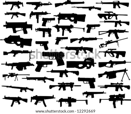 big weapon collection - stock vector