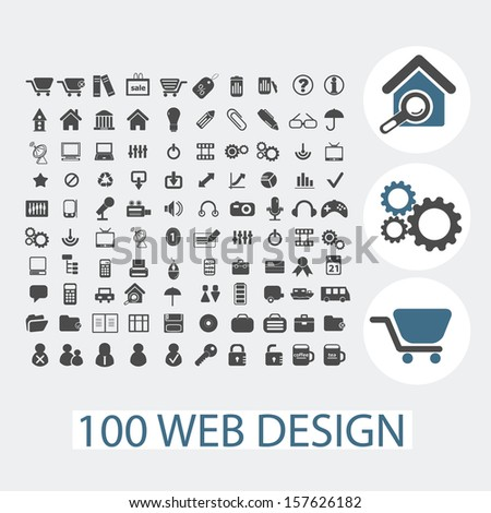 big web design black isolated icons set, vector - stock vector