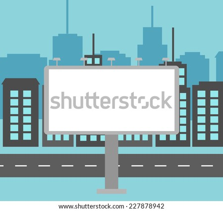 Big white blank billboard in the city near road, vector illustration - stock vector