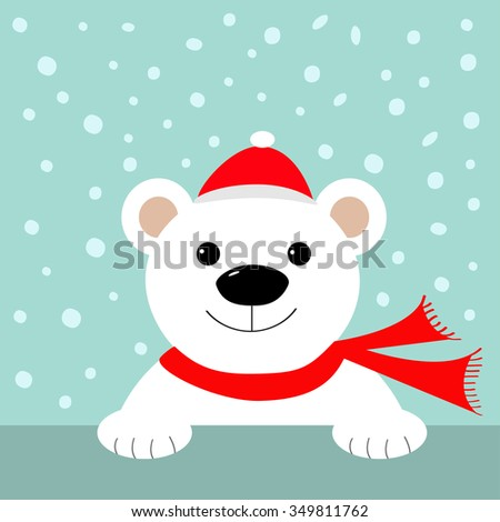 Big white polar bear in santa claus hat and scarf. Merry Christmas Greeting Card. Blue background with snow. Flat design Vector illustration - stock vector