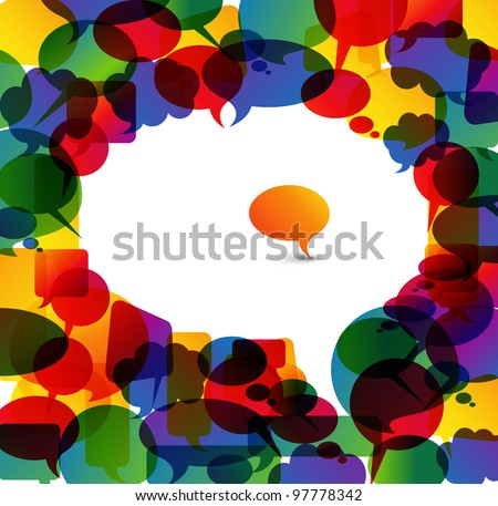 Big white speech bubble made from colorful small bubbles - stock vector