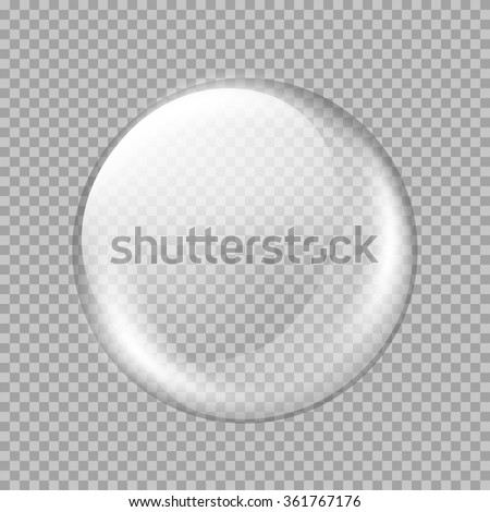 Big white transparent glass sphere with glares and highlights. White pearl. Vector illustration, contains transparencies, gradients and effects - stock vector