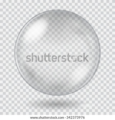 Big white transparent glass sphere with glares and shadow. Transparency only in vector file - stock vector