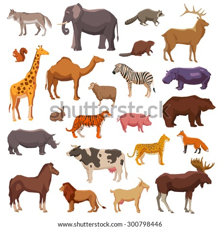 Big wild domestic and farm animals decorative icons set isolated vector illustration - stock vector
