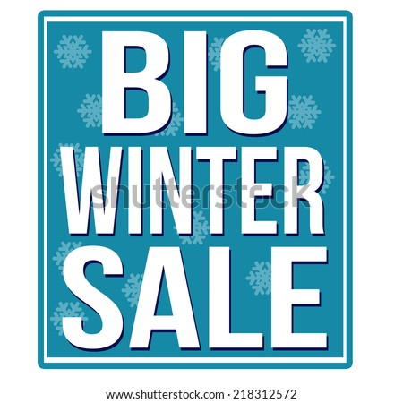 Big winter sale blue sign isolated on a white background, vector illustration