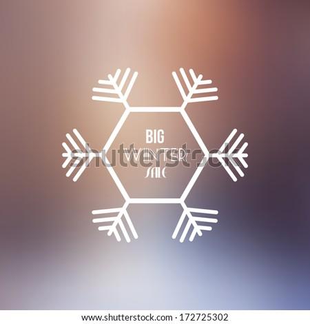 Big Winter Sale Vector Retro Badge with Blurred Background - Vector Illustration - Flat Design - stock vector