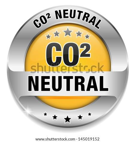 Big yellow carbon dioxide neutral button - stock vector