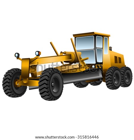big yellow grader on a white background
