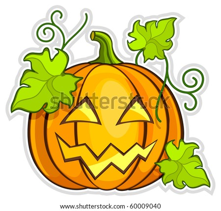 Big yellow grimace pumpkin, Halloween vector illustration - stock vector