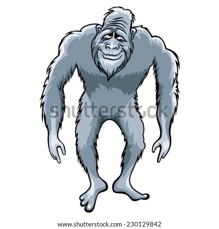 Bigfoot or Sasquatch vector illustration, ape man isolated on white background - stock vector
