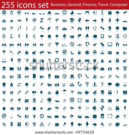 Biggest collection of different icons for using in web design - stock vector