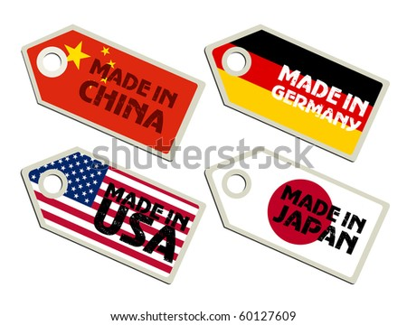 Biggest exporters. Collection of labels