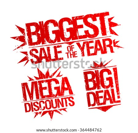 Biggest sale of the year stamp, mega discounts stamp, big deal stamp. Sale vector stamps set. - stock vector