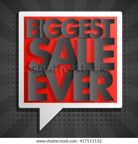 Biggest Super Sale ever balloons banner in pop-art style. Paper style. Web vector template background. Up to off