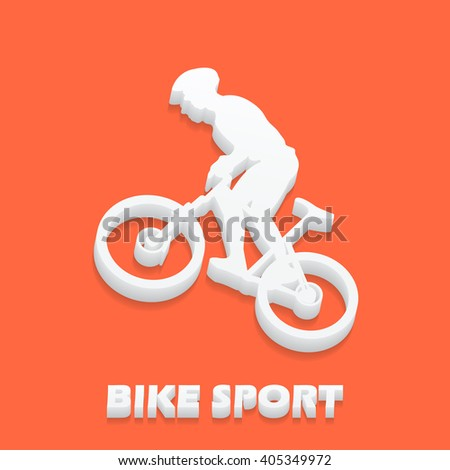 Bike and bikers man illustration. Creative, luxury gradient color style image. Print label, banner, icon, book, cover, card, website, web, greeting, invitation. 3D - stock vector