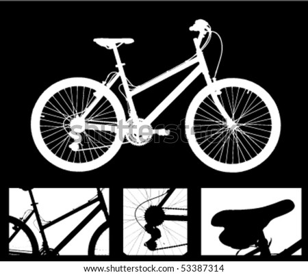 bike and details - stock vector