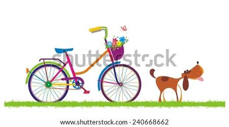 Bike and dog. Vector illustration.  - stock vector