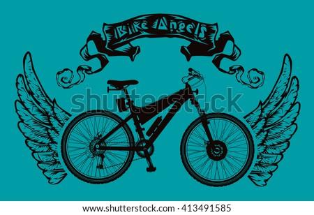 Bike Angels Poster Ribbon Bicycle Wings Stock Vector ...