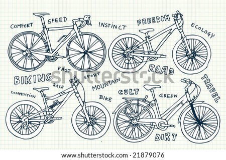 Bike doodles. Click on my name below to see a huge collection of doodles. - stock vector