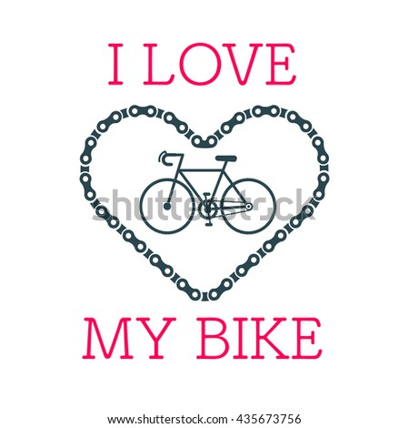 Bike heart vector with the hipster style modern urban bike in the center of illustration. 100% vector easy to edit illustration.  - stock vector