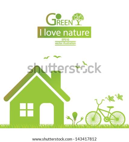 Bike. Home. Go green. Save world. vector illustration. - stock vector