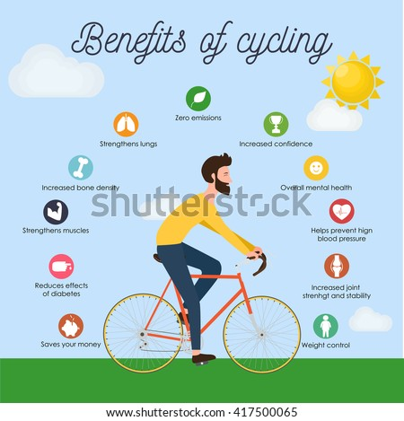 Bike Infographics Benefits Cycling Young Man Stock Vector ...