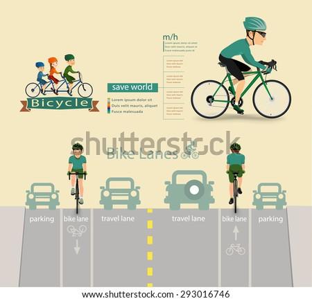 bike infographics.vector - stock vector