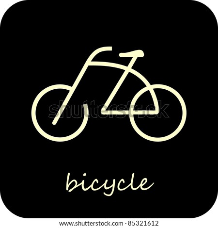 Bike - isolated vector icon on black background. Design element - button. Sign. Can be used as logotype or symbol. - stock vector