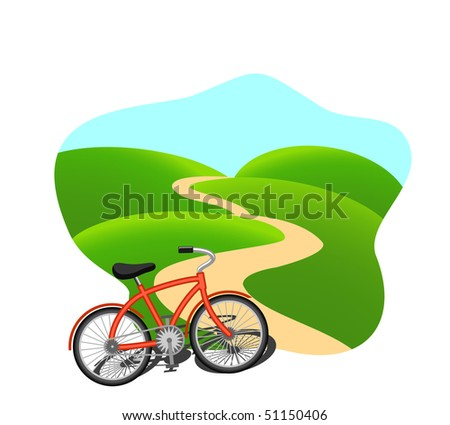Bike on a country road - stock vector