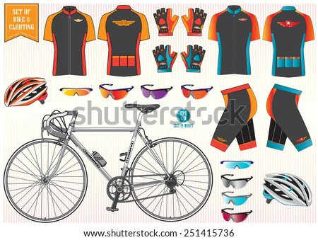 Bike or Bicycle clothing and equipment (bike, helmet, clothing, sun glass)  illustration, easy to modify - stock vector