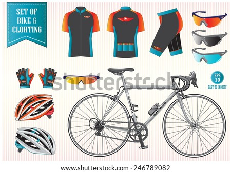 Bike or Bicycle clothing illustration, easy to modify - stock vector